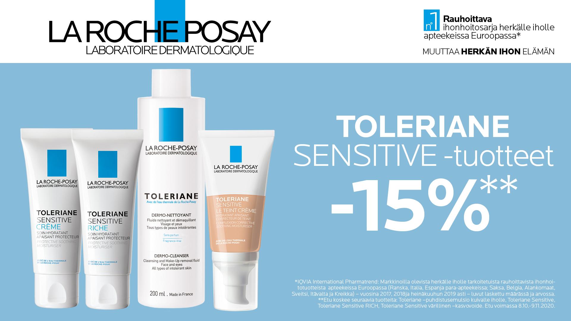 La Roche-Posay Toleriane sensitive -tuotteet -15 %