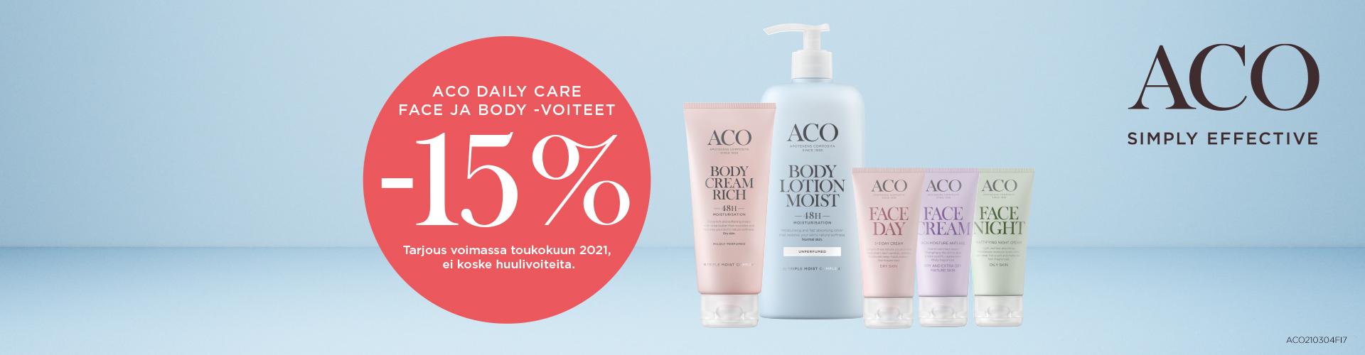 ACO Daily Care face ja body -voiteet -15 %